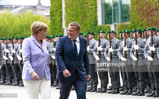 German Chancellor Angela Merkel welcomes Lars L��kke Rasmussen Prime Minister of Denmark with militar honors at the German Chancellery in Berlin...