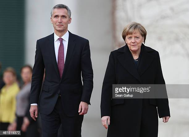 German Chancellor Angela Merkel welcomes NATO Secretary General Jens Stoltenberg at the Chancellery on January 14 2015 in Berlin Germany Stoltenberg...