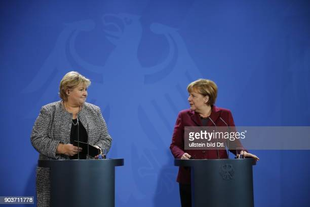 German Chancellor Angela Merkel welcomes Norwegian Prime Minister Erna Solberg on 8 November 2016 at the Federal Chancellery After a joint work they...