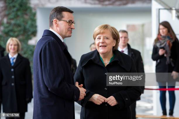 German Chancellor Angela Merkel welcomes Polish Prime Minister Mateusz Morawiecki with military honours in front of the Federal Chancellery in Berlin...