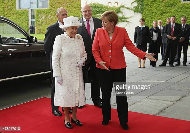 German Chancellor Angela Merkel welcomes Queen Elizabeth II and Prince Philip the Duke of Edinburgh at the Chancellery as Minister of the Chancellery...