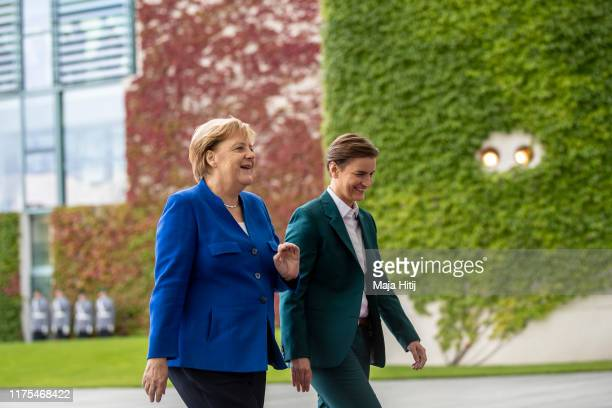 German Chancellor Angela Merkel welcomes Serbian Prime Minister Ana Brnabic at the Chancellery in Berlin on August 29 2019 on September 18 2019 in...