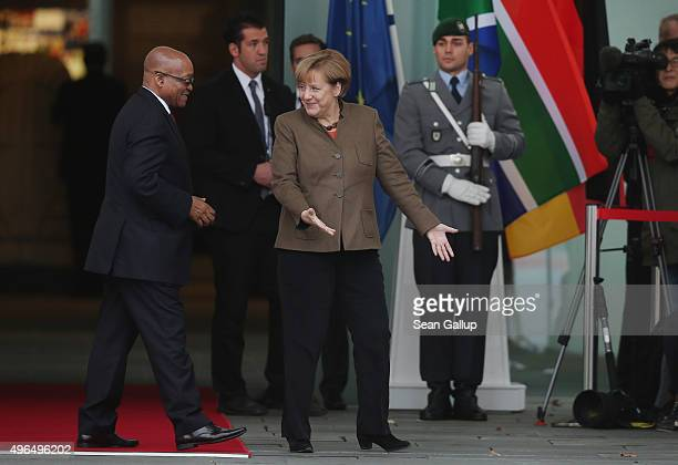 German Chancellor Angela Merkel welcomes South African President Jacob Zuma upon Zuma's arrival at the Chancellery on November 10, 2015 in Berlin,...