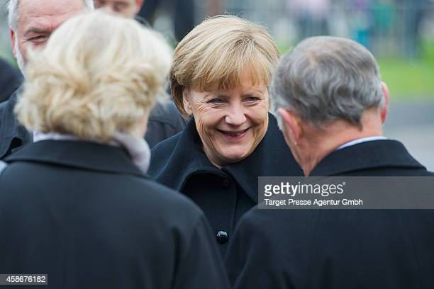 German chancellor Angela Merkel welcomes the former hungarian prime minister Miklos Nemeth at the Berlin Wall Memorial at Bernauer Strasse on the...