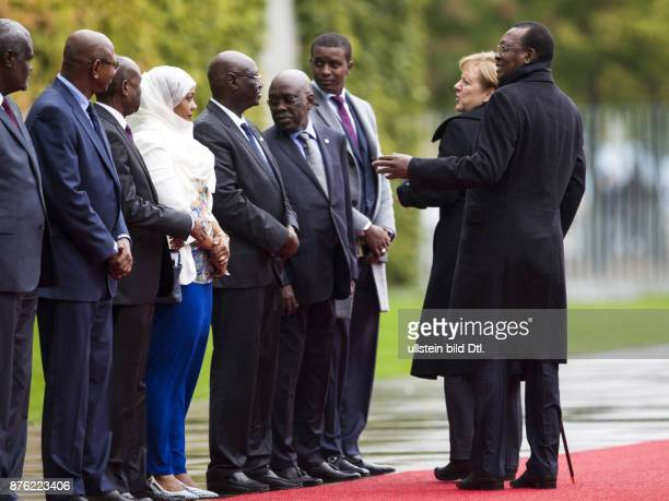 German Chancellor Angela Merkel welcomes the President of the Republic of Chad Idriss Deby with military honors on October 12 2016 in Berlin It is...