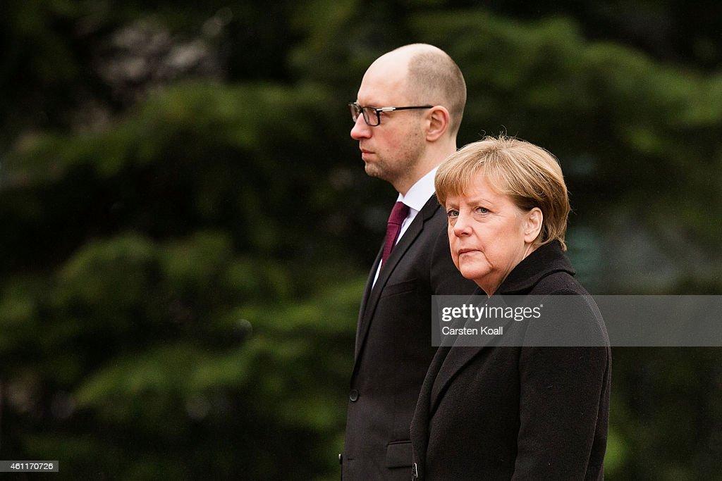 Merkel Meets With Ukrainian Prime Minister Yatsenyuk : News Photo