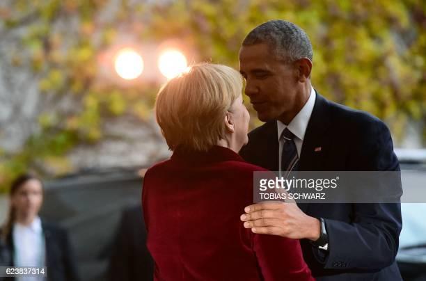TOPSHOT German Chancellor Angela Merkel welcomes US President Barack Obama on November 17 2016 at the Chancellery in Berlin US President Barack Obama...
