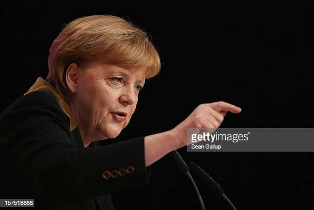 German Chancellor Angela Merkel who is also chairwoman of the German Christian Democratic Union speaks at the CDU federal party convention on...