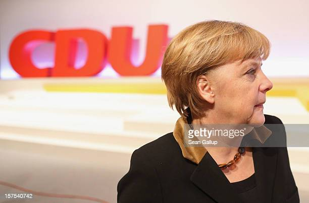 German Chancellor Angela Merkel who is also chairwoman of the German Christian Democratic Union attends the CDU federal party convention on December...