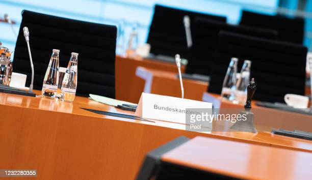 German Chancellor Angela Merkel's seat is seen before the weekly government cabinet meeting during the third wave of the coronavirus pandemic on...