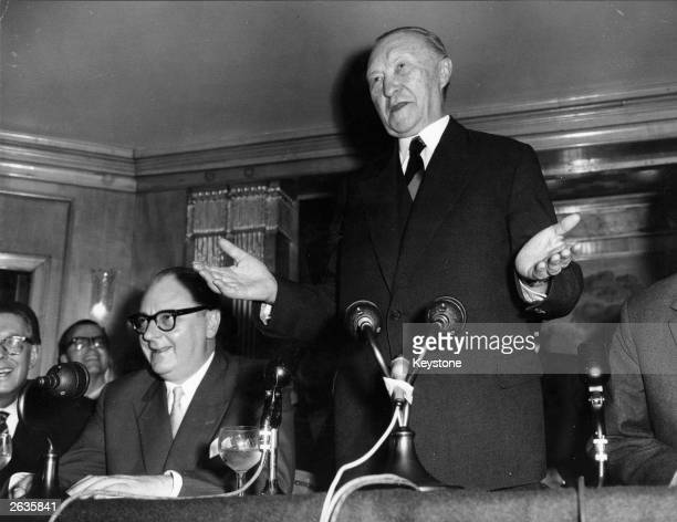 German Chancellor Dr Konrad Adenauer speaking at a press conference at the Dorchester Hotel, London.