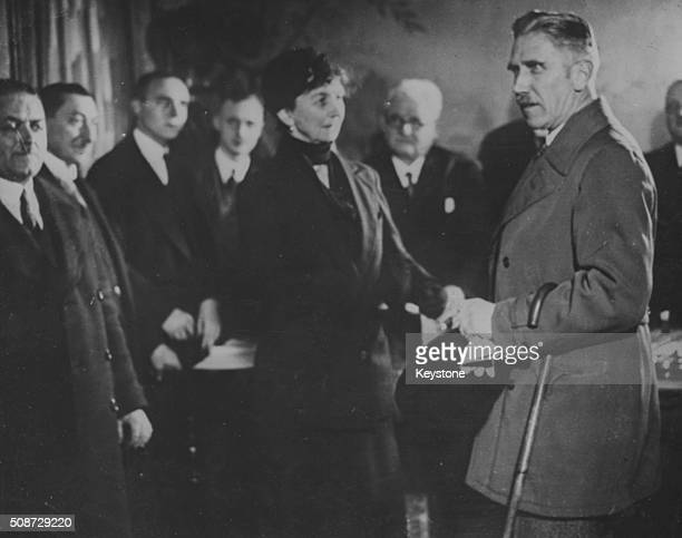German Chancellor Franz von Papen voting at a polling station during the Reichstag elections in Berlin November 7th 1932