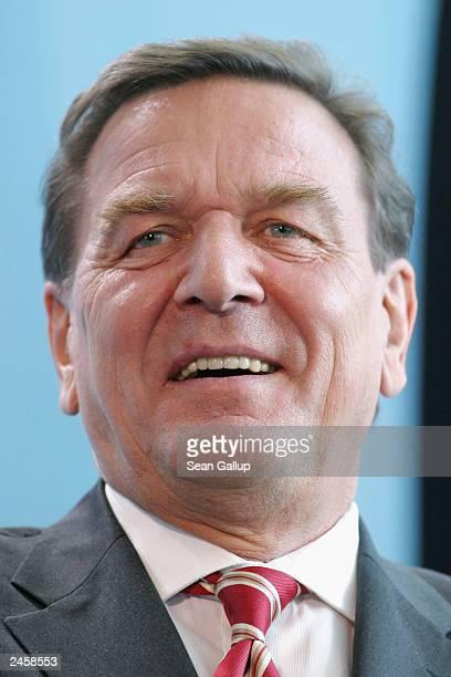 German Chancellor Gerhard Schroeder smiles during a news conference September 2, 2003 in Berlin, Germany. Schroeder confirmed September 1, 2003 that...