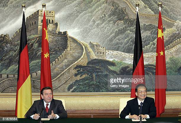 German Chancellor Gerhard Schroeder together with Chinese Premier Wen Jiabao during a joint press conference at the Great Hall of the People in...