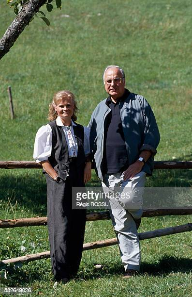 German Chancellor Helmut Kohl and his wife Hannelore on vacation in Salzburg