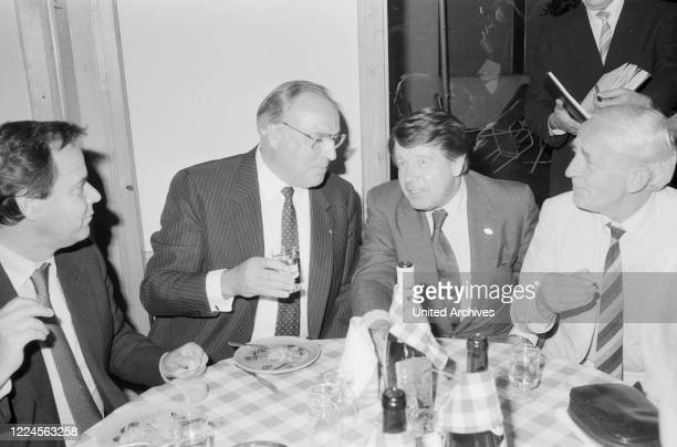 German chancellor Helmut Kohl , having dinner at Hamburg, Germany circa 1984.
