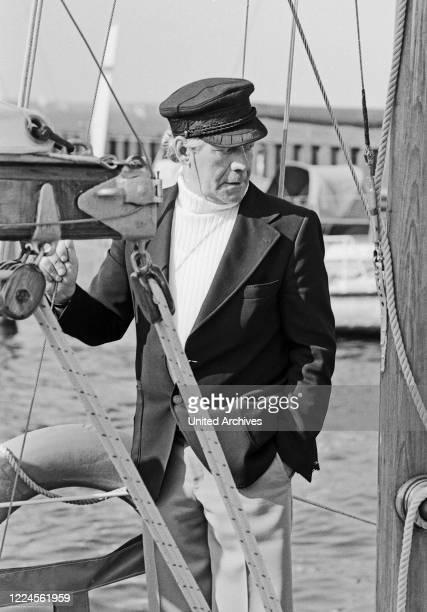 German chancellor Helmut Schmidt sailing, Germany circa 1980.