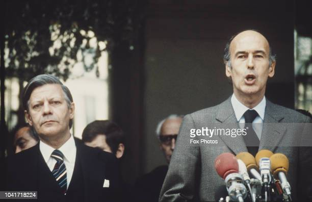 German Chancellor Helmut Schmidt with French President Valéry Giscard d'Estaing, during a visit to France, circa 1974.