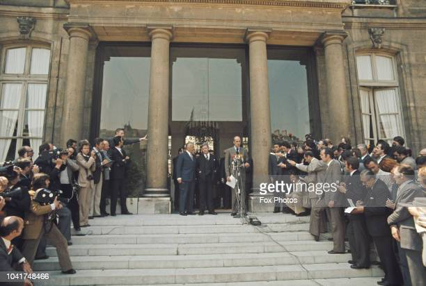 German Chancellor Helmut Schmidt with French President Valéry Giscard d'Estaing on the steps of the Elysée Palace in Paris, France, 31st May 1974.