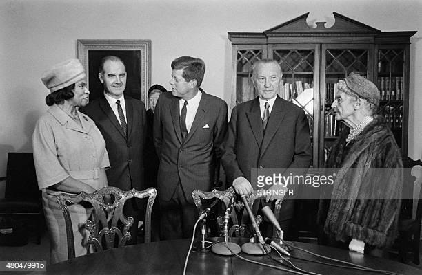 German Chancellor Konrad Adenauer , US President John F. Kennedy , flanked by African-American contralto Marian Anderson , U.S. Senator George...