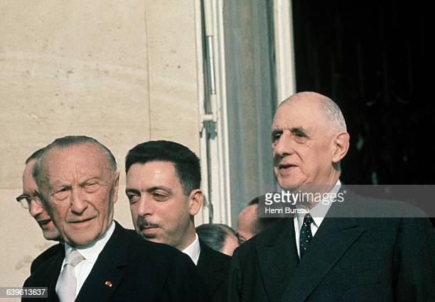 German Chancellor Konrad Adenauer with French President General de Gaulle