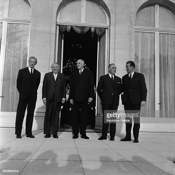 German Chancellor Ludwig Erhard on the steps of the Elysée Palace after talks with French President General Charles de Gaulle also attended by French...