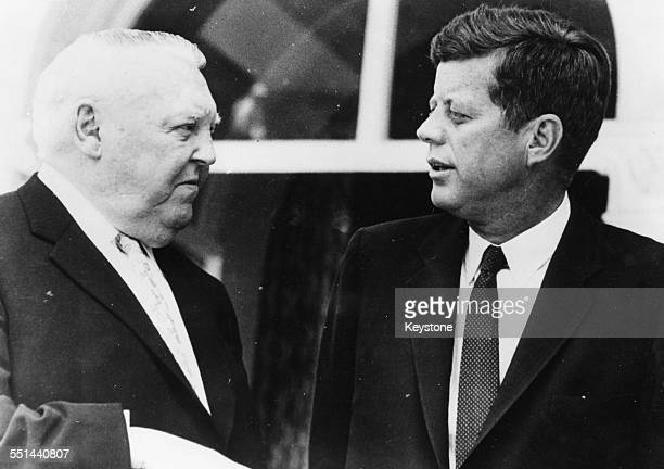 German Chancellor Ludwig Erhard talking to US President John F Kennedy in Germany June 25th 1963