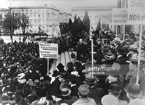 German chancellor Philipp Scheidemann speaking on the first official Labour Day demonstration in Berlin in front of the Reichstag