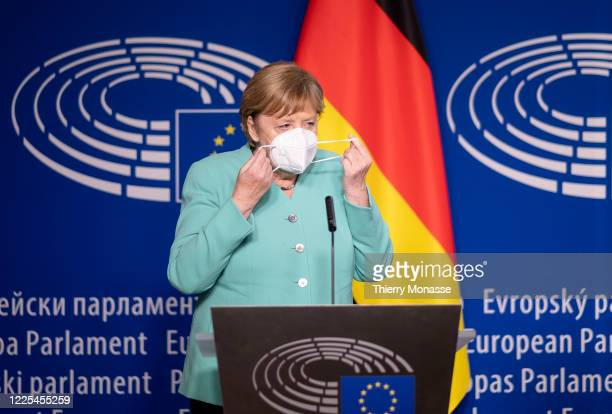 German Chancellor President of the European Council Angela Merkel and the President of the European Parliament talk to the media prior to a visit to...