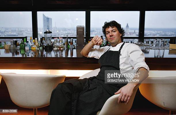 German chef Peter Maria Schnurr poses at the bar of his restaurant 'Falco' on November 26 2008 in Leipzig eastern Germany Schnurr who is from Forbach...