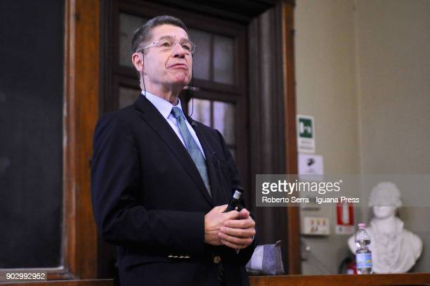 German chemist professor Joachim Sauer also known to be the husband of the Chancellor of Germany Angela Merkel during his speech during the lectio...