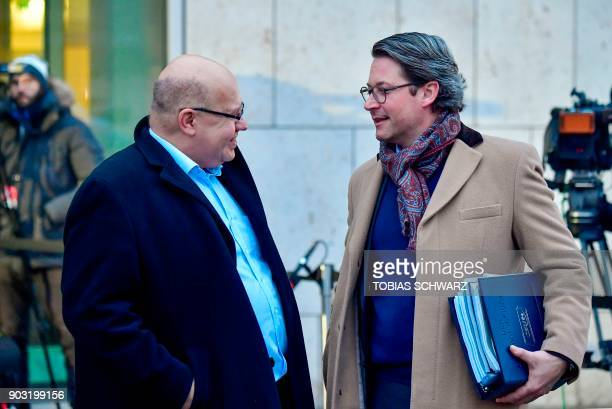 German Chief of Staff and interim Finance Minister Peter Altmaier and Andreas Scheuer General Secretary of the Bavarian Christian Social Union party...