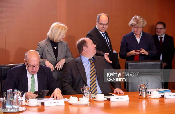German Chief of Staff and interim Finance Minister Peter Altmaier German Education and Research Minister Johanna Wanka state minister at the...