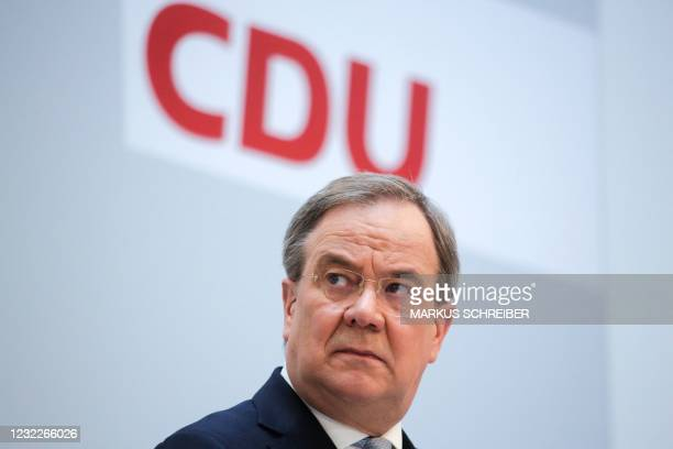German Christian Democratic Union Party Chairman Armin Laschet briefs the media after a meeting of the party's board at the headquarters in Berlin,...