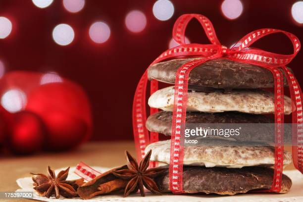 German Christmas cookies with red bow and Christmas lights
