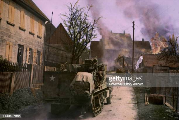 German Civilian Waving White Flag of Surrender Coming Toward HalfTrack Geisselhardt Germany Central Europe Campaign Western Allied Invasion of...