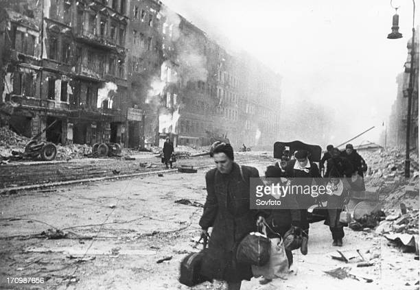 German civilians fleeing berlin under the red army attack world war 2 city in ruins 1945