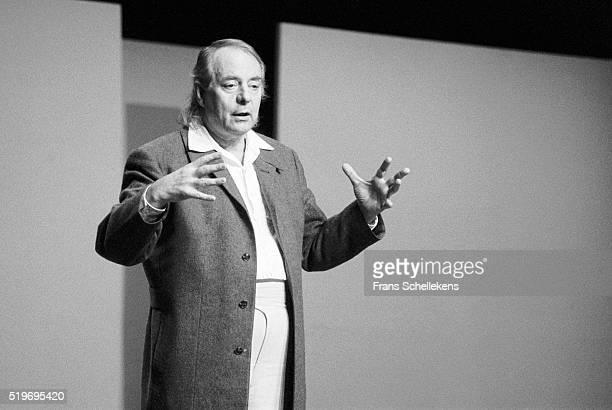 German classical composer Karl Heinz Stockhausen, conducts at De Speeldoos on December 2nd 1991 in Zaandam, Netherlands. ,