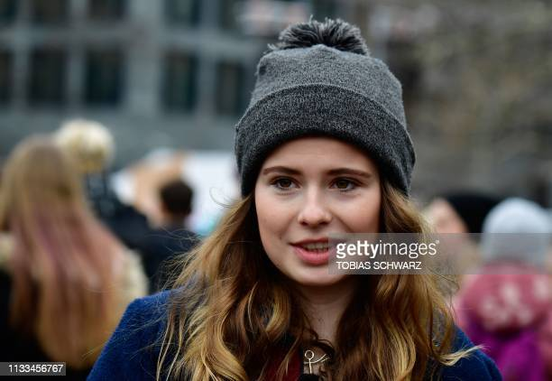 German climate activist LuisaMarie Neubauer is pictured during a Fridays for Future demonstration for a better climate policy in Berlin on March 29...