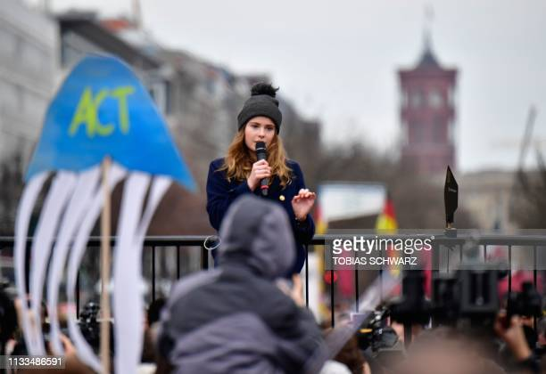 German climate activist LuisaMarie Neubauer speaks during a Fridays for Future demonstration for a better climate policy in Berlin on March 29 2019...