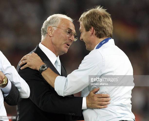 German coach Juergen Klinsmann and Franz Beckenbauer of Germany after the 3rd place match of the 2006 FIFA World Cup between Germany and Portugal in...