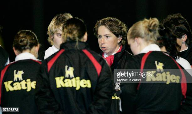 German coach Maren Meinert talks to her players after the Women's Under 19 international friendly match between Switzerland and Germany on April 13...