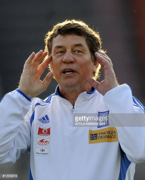 German coach of Greek national football team Otto Rehhagel directs his players in Puskas Stadium in Budapest on May 23 2008 during their training...