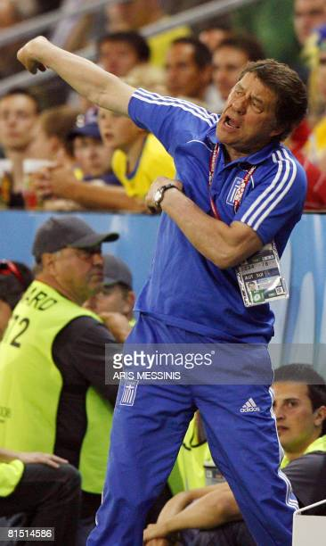 German coach of the Greek national football team Otto Rehhagel reacts during the Euro 2008 Championships Group D football match Greece vs Sweden on...