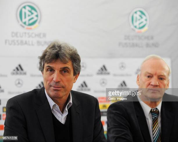 German Coach Rainer Adrion and DFBVicePresident HansGeorg Moldenhauer look on during the U21 European Qualification game press conference on January...