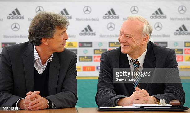 German Coach Rainer Adrion and DFBVicePresident HansGeorg Moldenhauer chat during the U21 European Qualification game press conference on January 13...