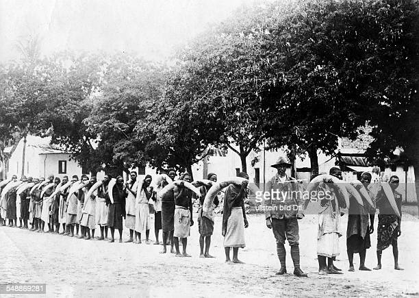 German colonies in Africa Gang of locals transport ivory Photographer Berliner Illustrations Gesellschaft undated Vintage property of ullstein bild