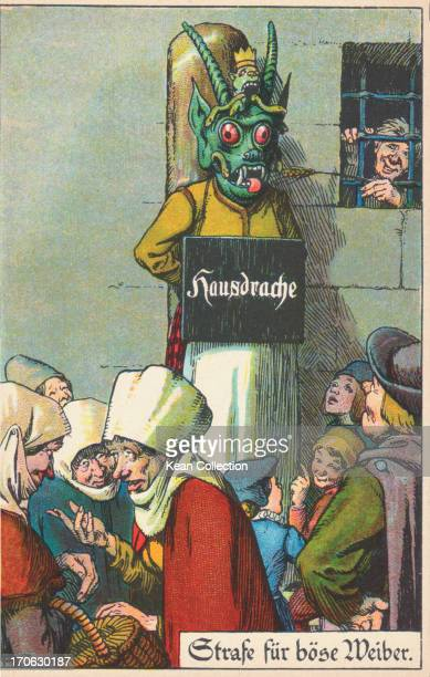 German color cartoon depicting a woman tied to a post in the town square wearing a mask, similar to a scold's bridle, a medieval punishment for a...