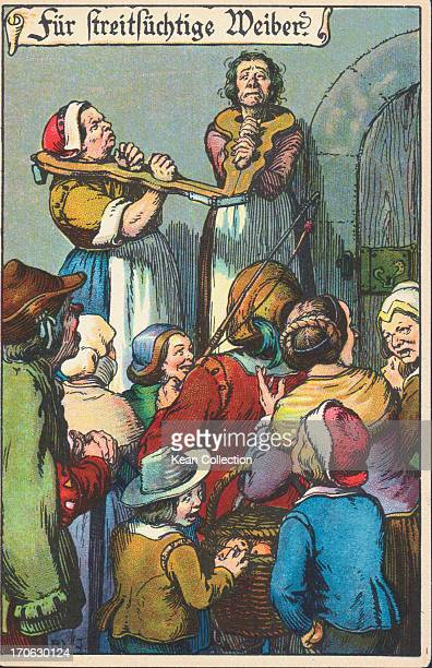 German color cartoon depicting two women wearing connected shrew's fiddle similar to a pillory a medieval public punishment for quarrelsome women