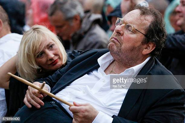 German comedian and actor Ottfried Fischer and his girlfriend Simone Brandlmeier attend the Scorpions Concert during the Thurn Taxis Castle Festival...